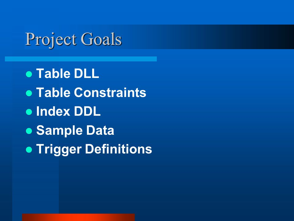 Project Goals Table DLL Table Constraints Index DDL Sample Data