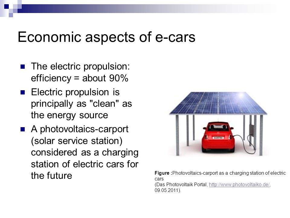 Economic aspects of e-cars