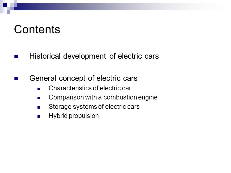 Contents Historical development of electric cars