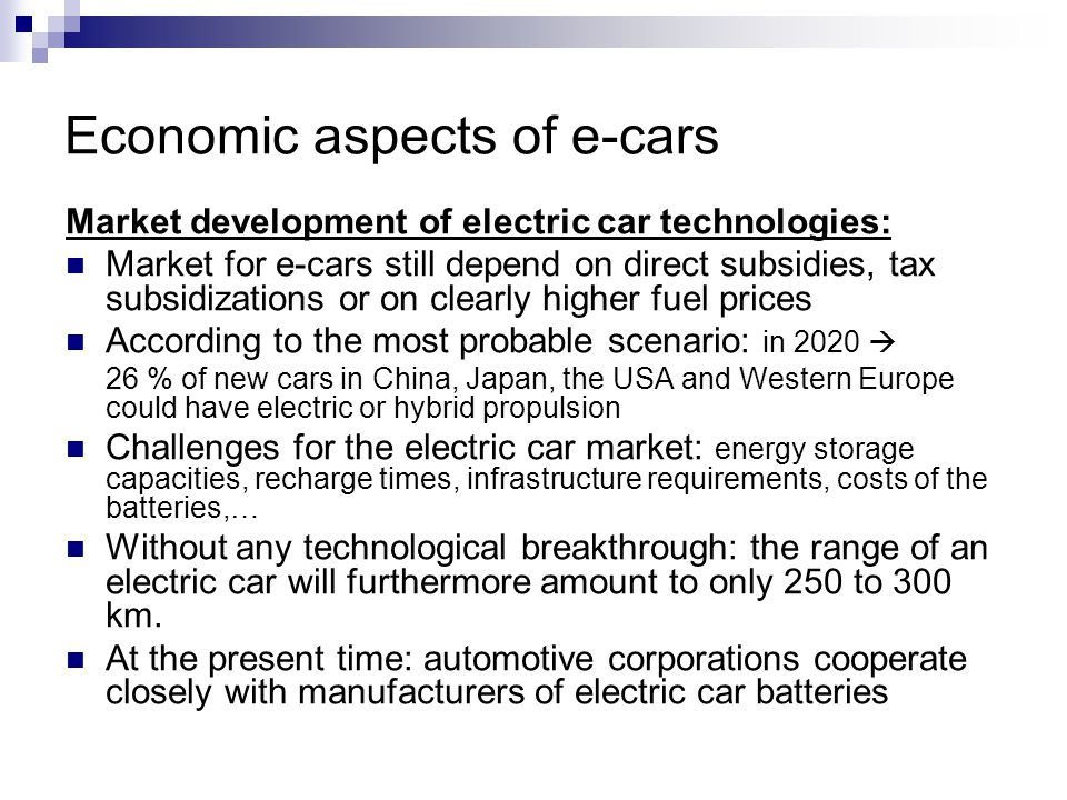 Economic aspects of e-cars