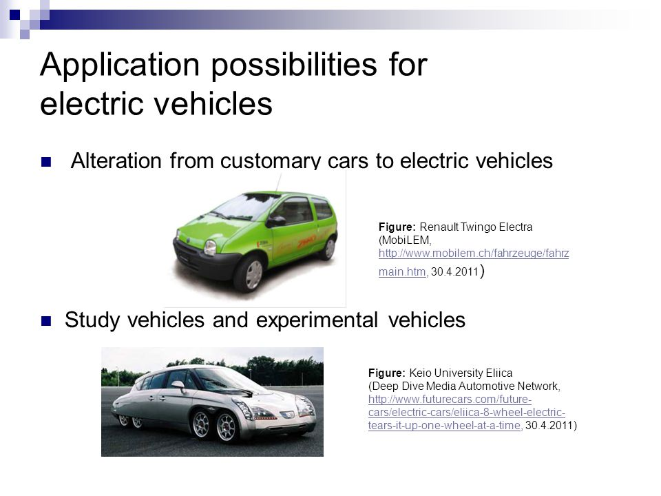 Application possibilities for electric vehicles