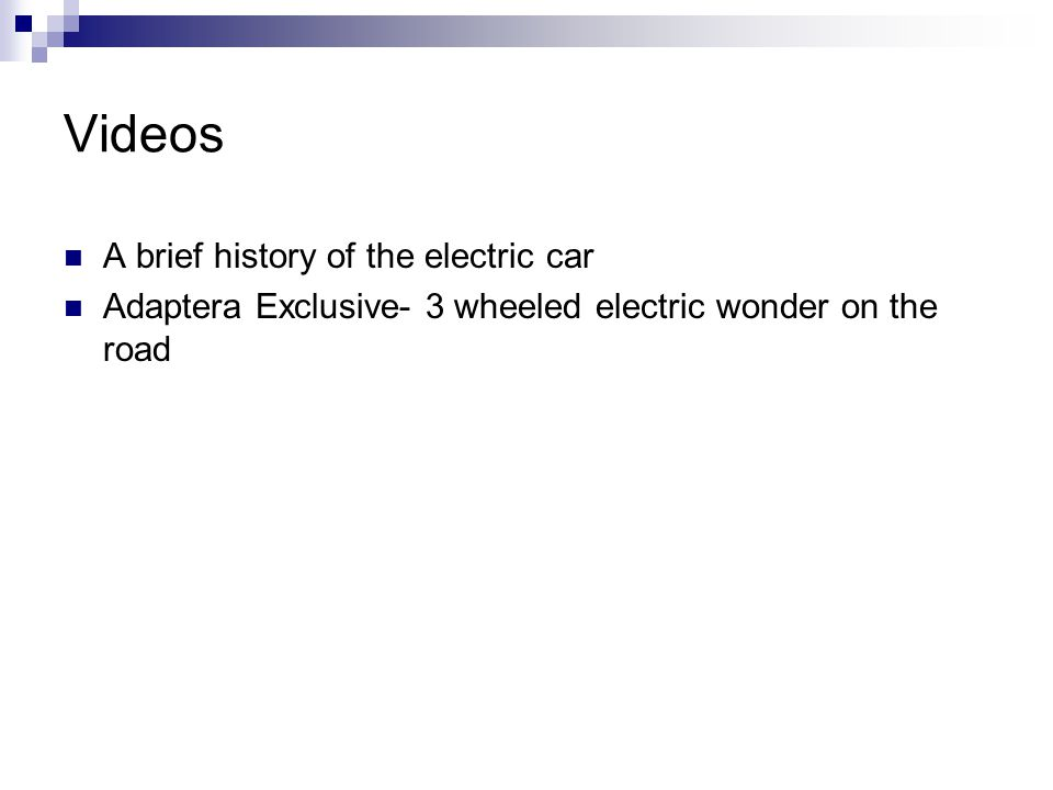 Videos A brief history of the electric car