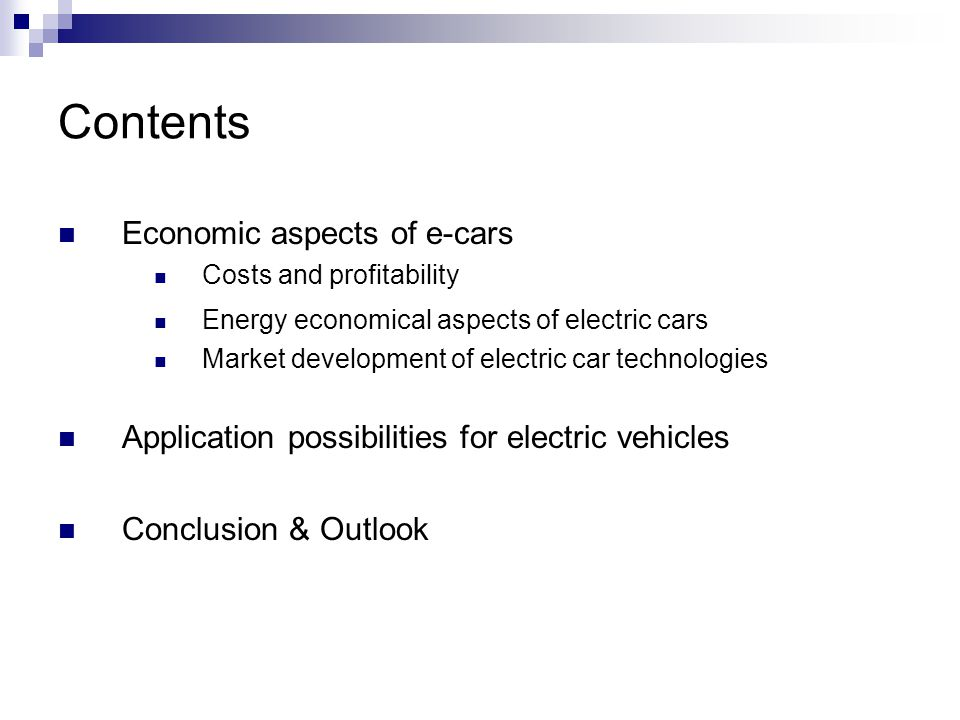 Contents Economic aspects of e-cars