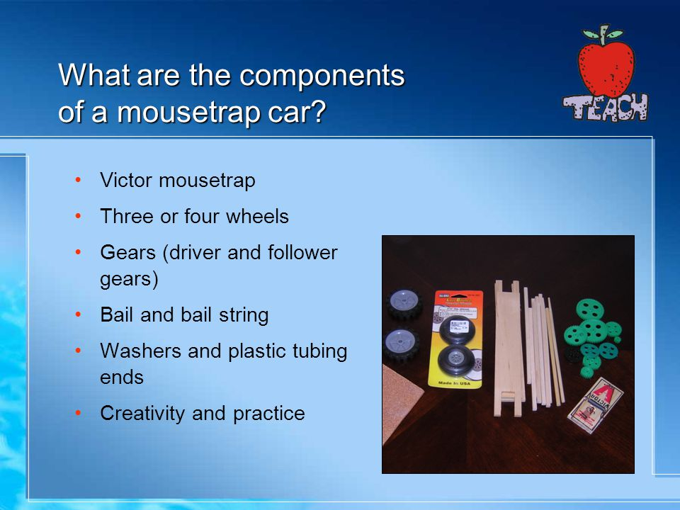 What are the components of a mousetrap car