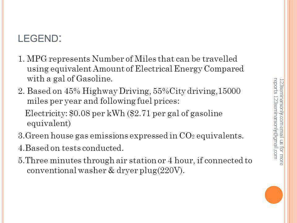 LEGEND: 1. MPG represents Number of Miles that can be travelled using equivalent Amount of Electrical Energy Compared with a gal of Gasoline.