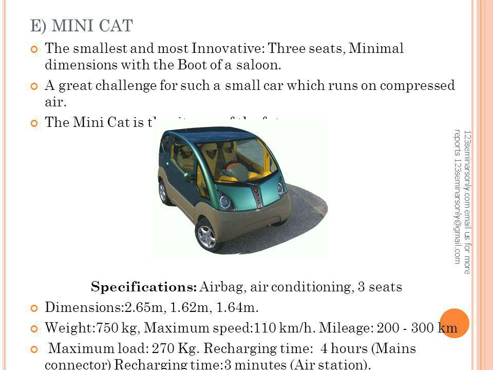 Specifications: Airbag, air conditioning, 3 seats
