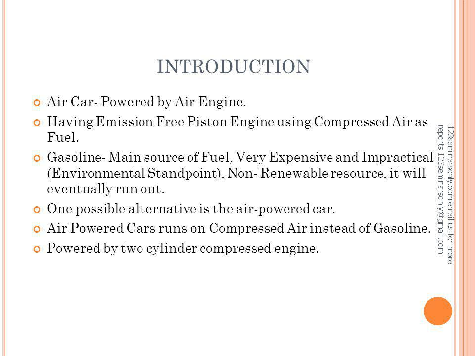 INTRODUCTION Air Car- Powered by Air Engine.