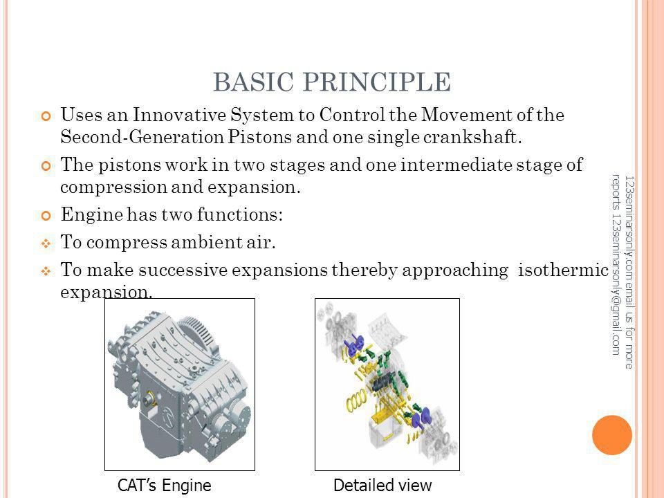 BASIC PRINCIPLE Uses an Innovative System to Control the Movement of the Second-Generation Pistons and one single crankshaft.