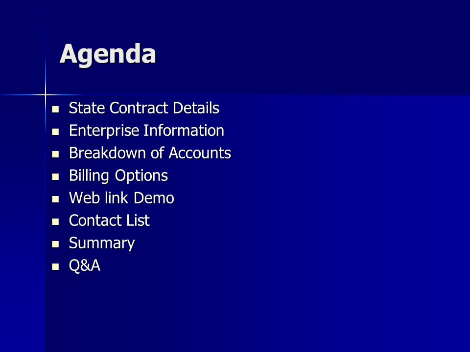 Agenda State Contract Details Enterprise Information