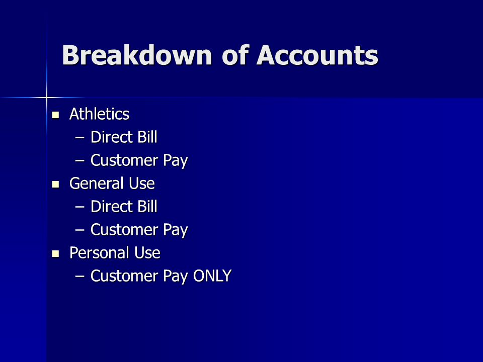 Breakdown of Accounts Athletics Direct Bill Customer Pay General Use