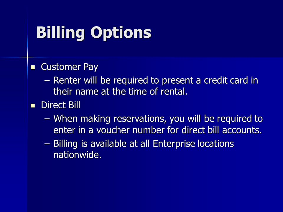 Billing Options Customer Pay