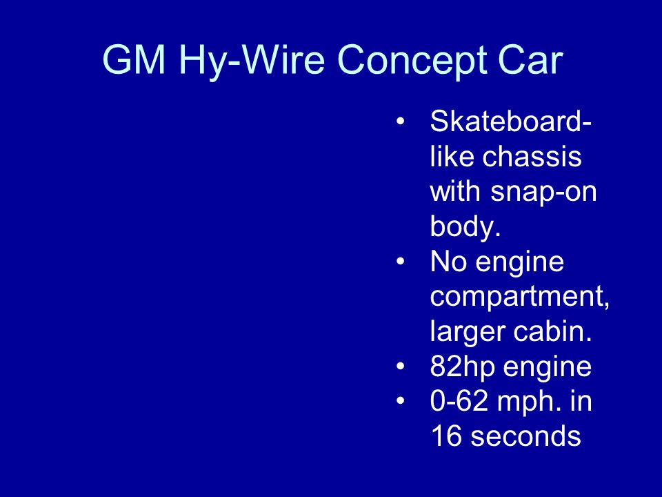GM Hy-Wire Concept Car Skateboard-like chassis with snap-on body.