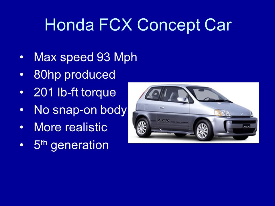 Honda FCX Concept Car Max speed 93 Mph 80hp produced 201 lb-ft torque