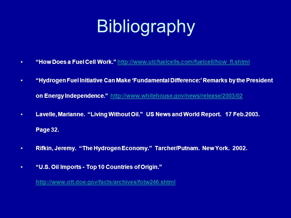 Bibliography How Does a Fuel Cell Work.