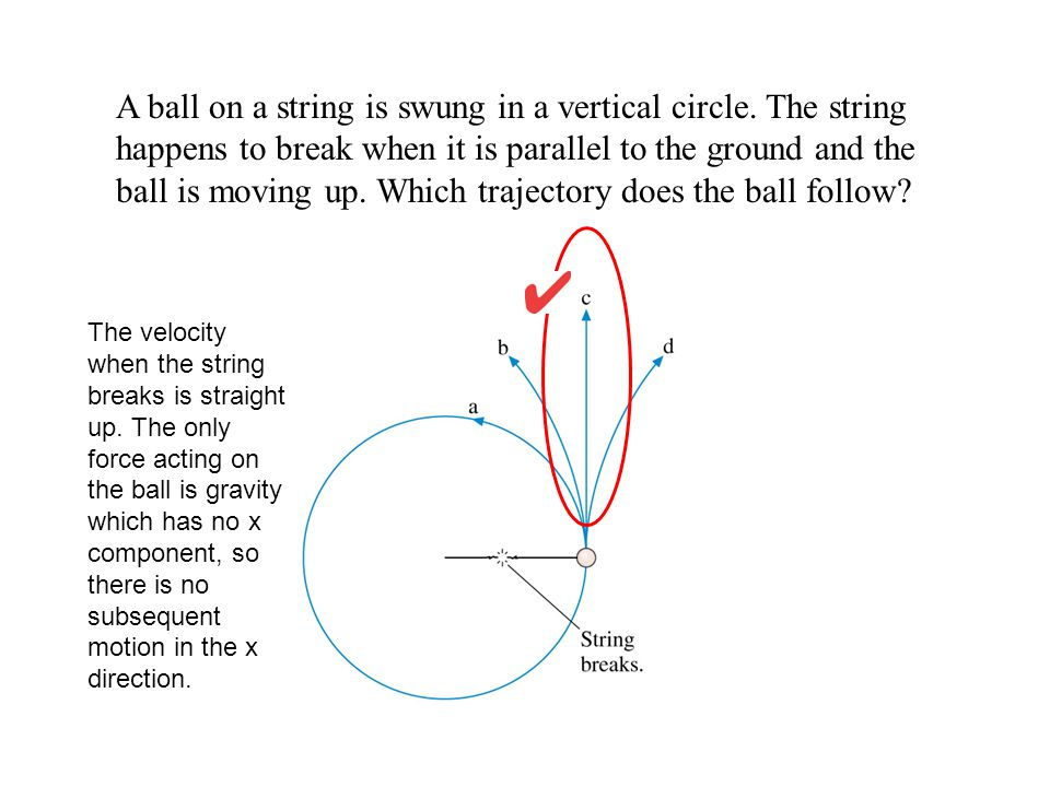 A ball on a string is swung in a vertical circle