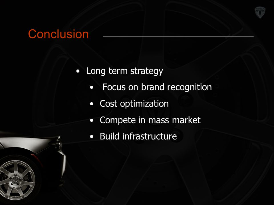 Conclusion Conclusion Long term strategy Focus on brand recognition