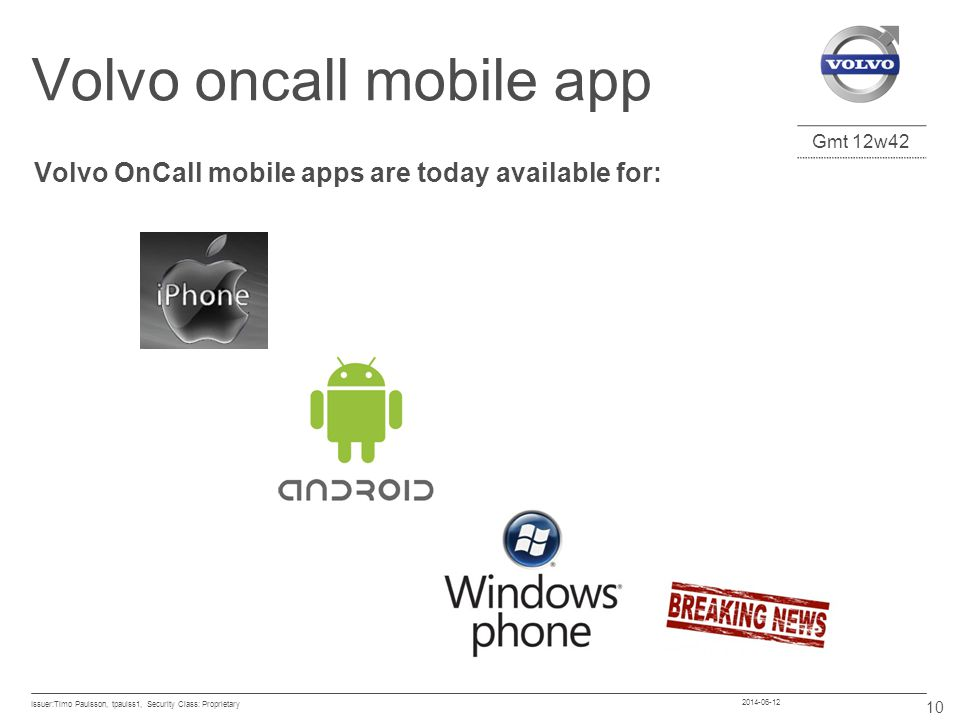 Volvo oncall mobile app
