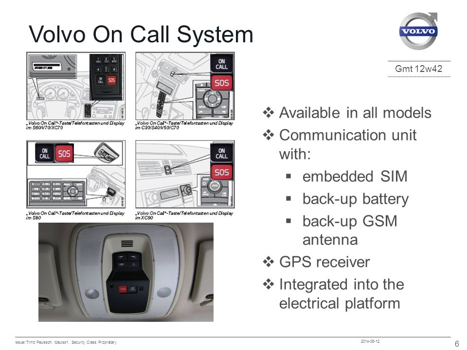Volvo On Call System Available in all models Communication unit with: