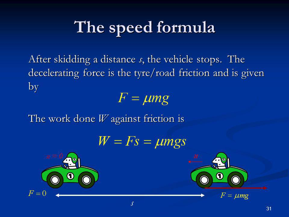 The speed formula After skidding a distance s, the vehicle stops. The decelerating force is the tyre/road friction and is given by.