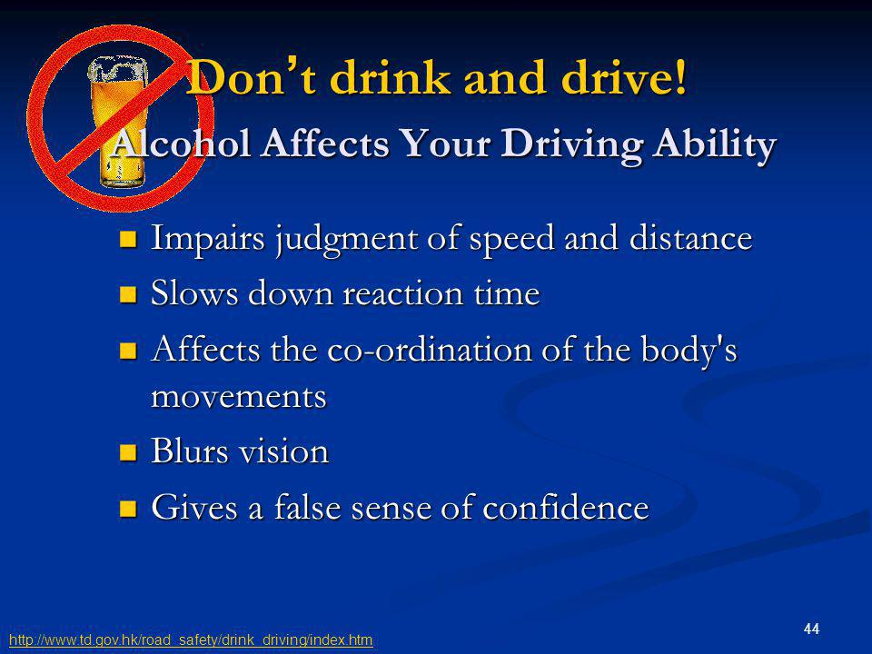 Don't drink and drive! Alcohol Affects Your Driving Ability