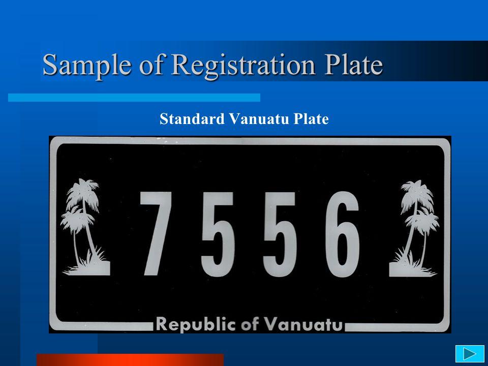 Sample of Registration Plate