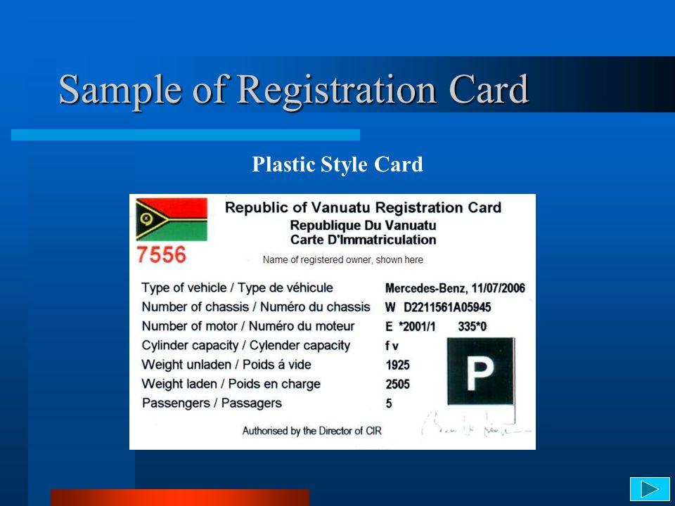 Sample of Registration Card