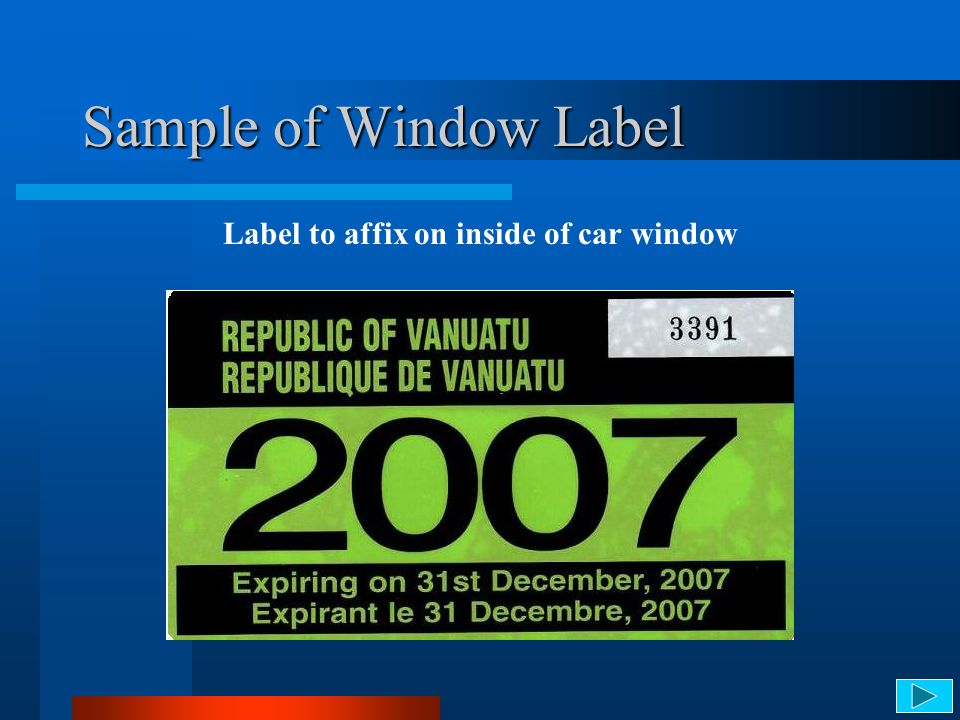 Label to affix on inside of car window
