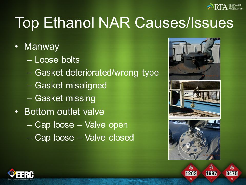 Top Ethanol NAR Causes/Issues