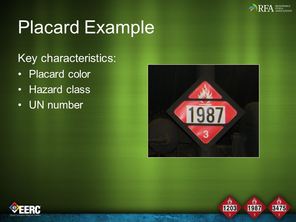 Placard Example Key characteristics: Placard color Hazard class