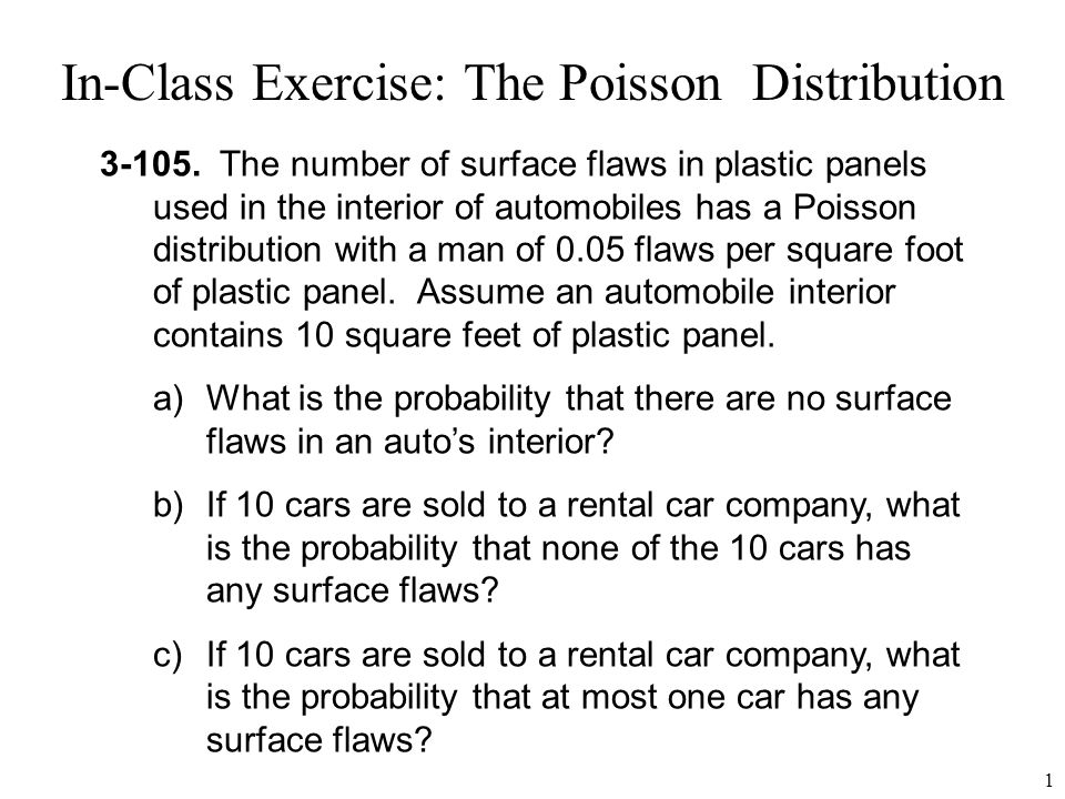 In-Class Exercise: The Poisson Distribution
