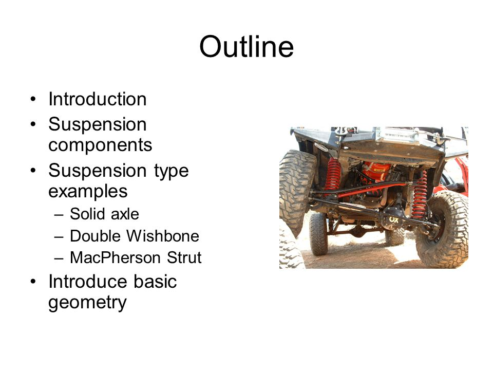 Outline Introduction Suspension components Suspension type examples