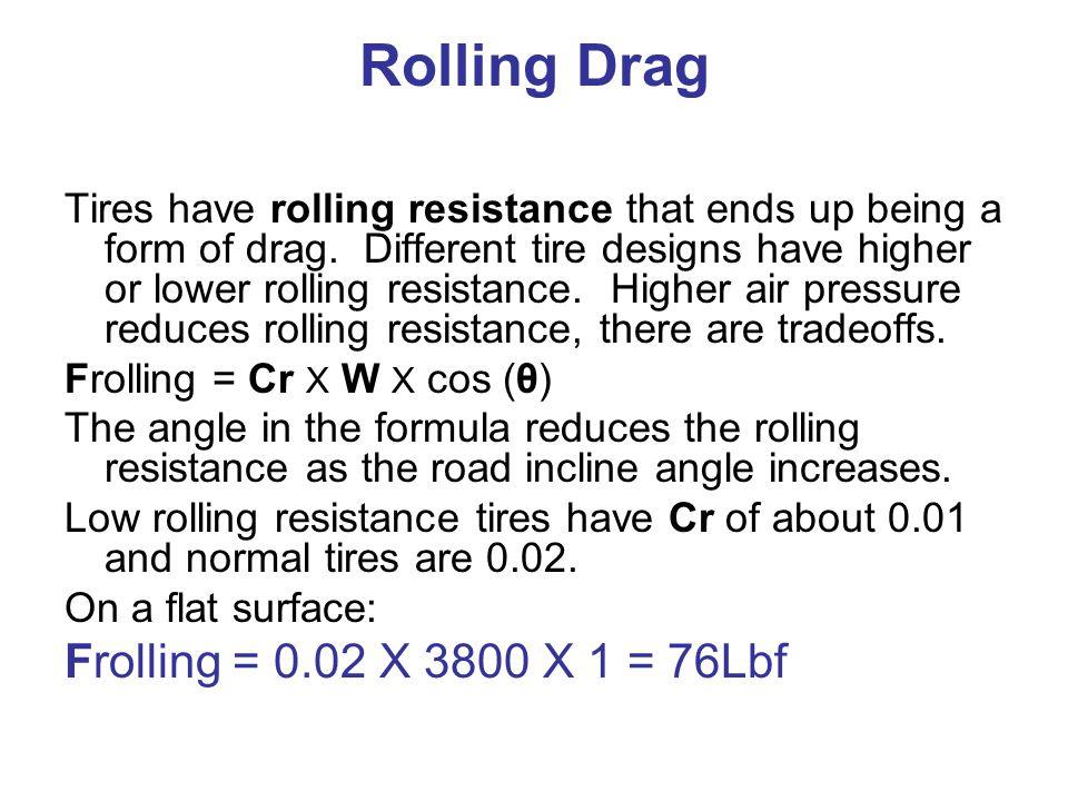Rolling Drag Frolling = 0.02 X 3800 X 1 = 76Lbf