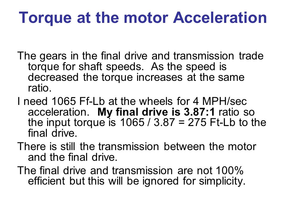 Torque at the motor Acceleration