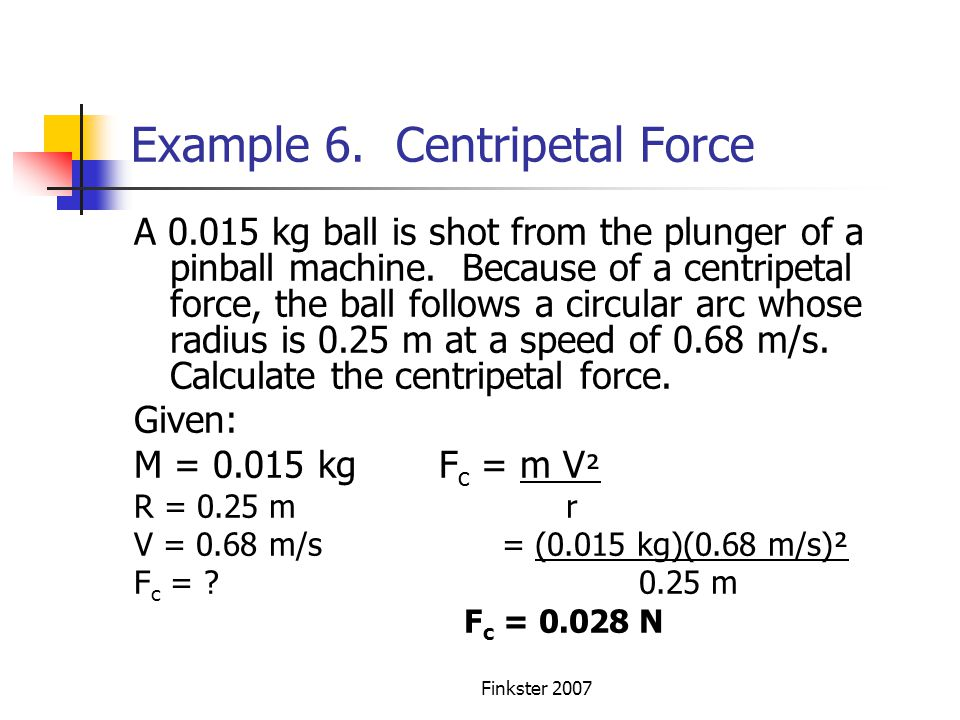 Example 6. Centripetal Force