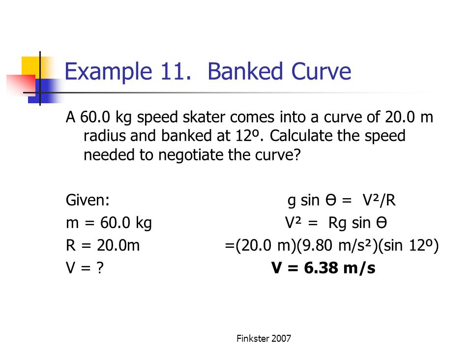 Example 11. Banked Curve