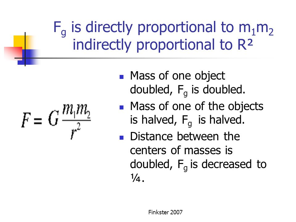 Fg is directly proportional to m1m2 indirectly proportional to R²