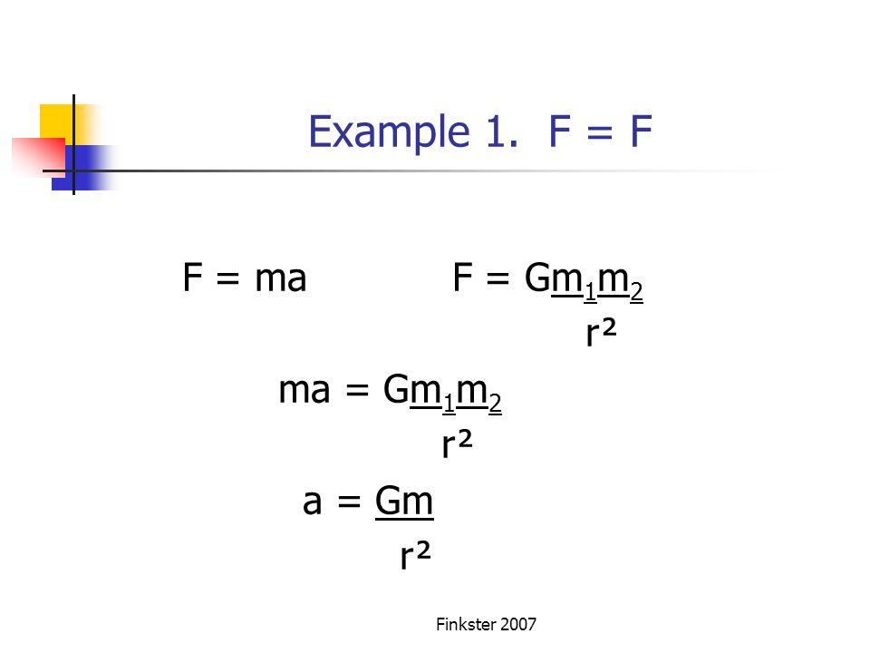 Example 1. F = F F = ma F = Gm1m2 r² ma = Gm1m2 a = Gm Finkster 2007