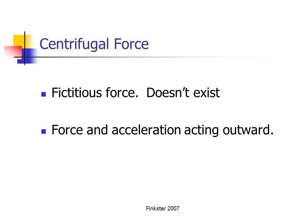 Centrifugal Force Fictitious force. Doesn't exist