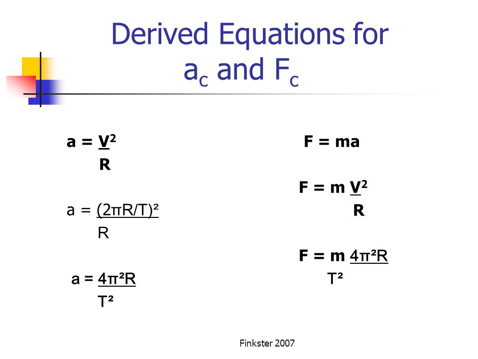 Derived Equations for ac and Fc