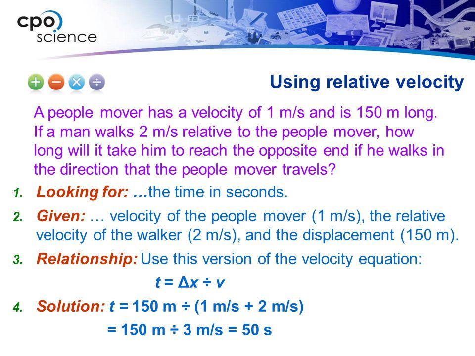 Using relative velocity