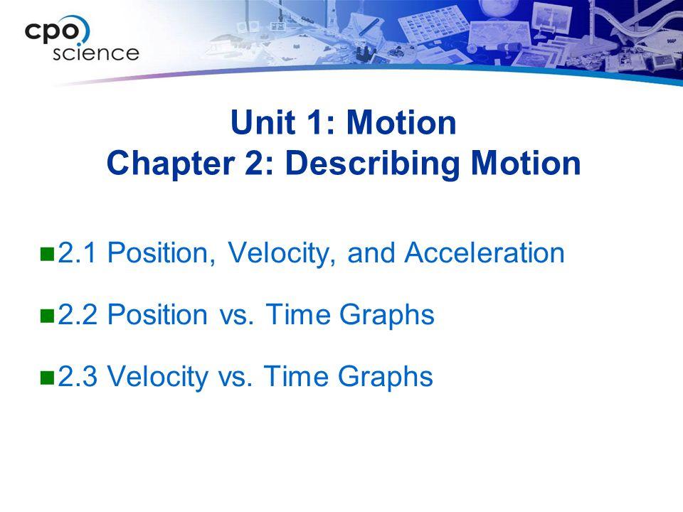 Unit 1: Motion Chapter 2: Describing Motion