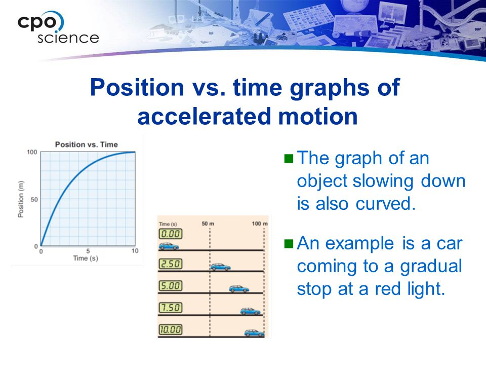 Position vs. time graphs of accelerated motion