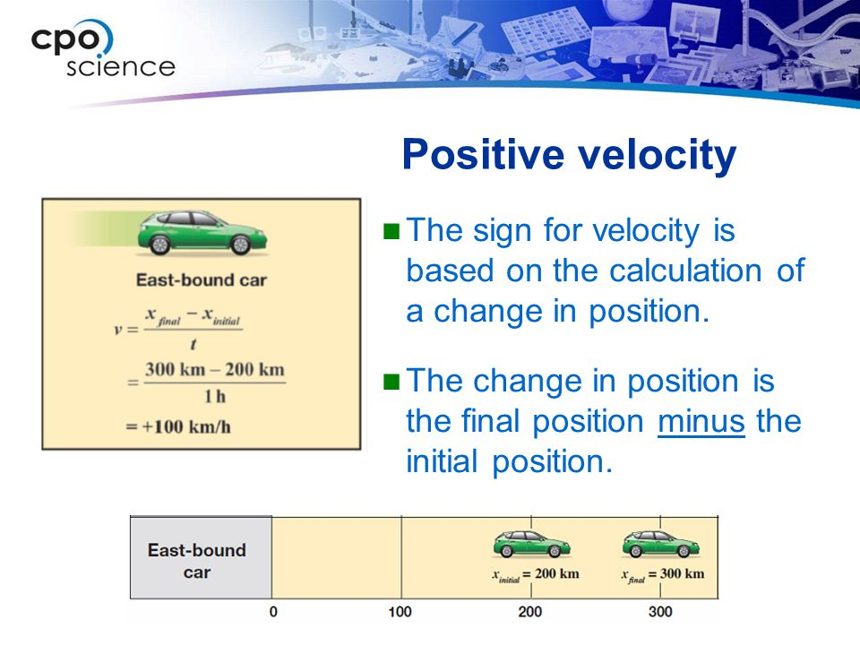 Positive velocity The sign for velocity is based on the calculation of a change in position.