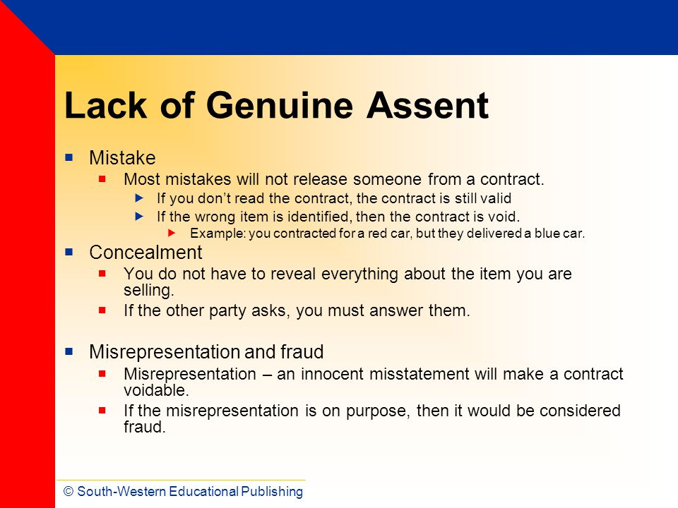 Lack of Genuine Assent Mistake Concealment Misrepresentation and fraud
