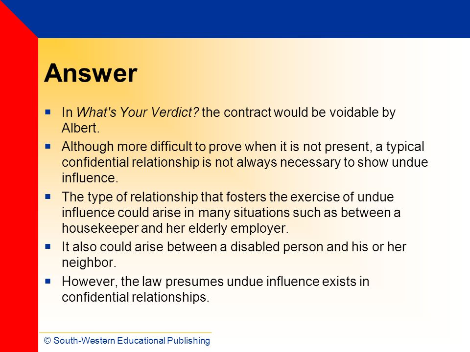 Answer In What s Your Verdict the contract would be voidable by Albert.