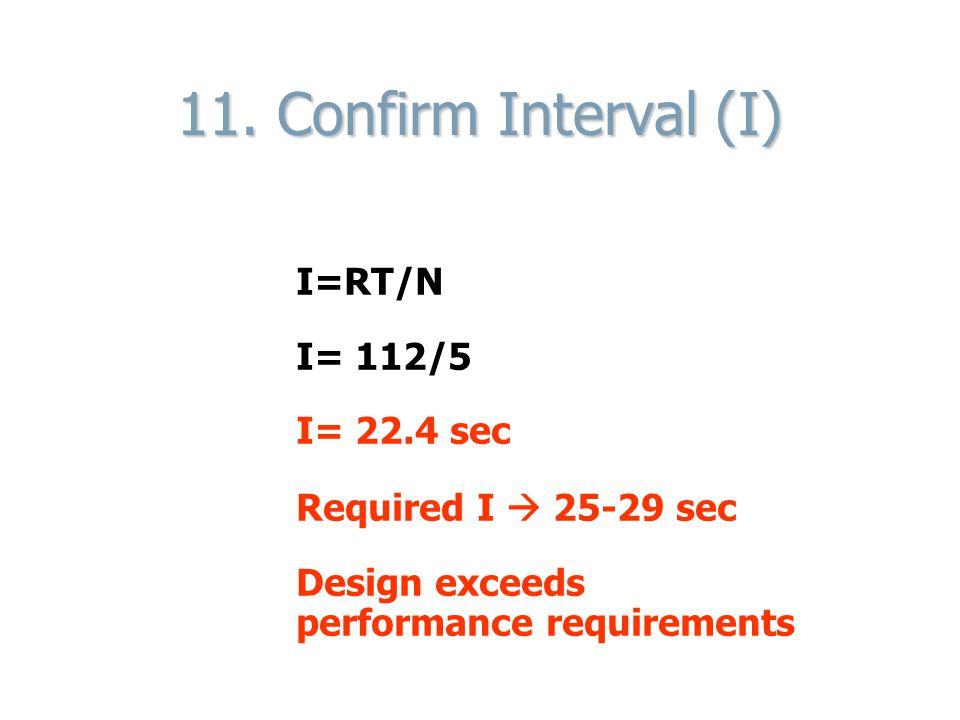 11. Confirm Interval (I) I=RT/N I= 112/5 I= 22.4 sec