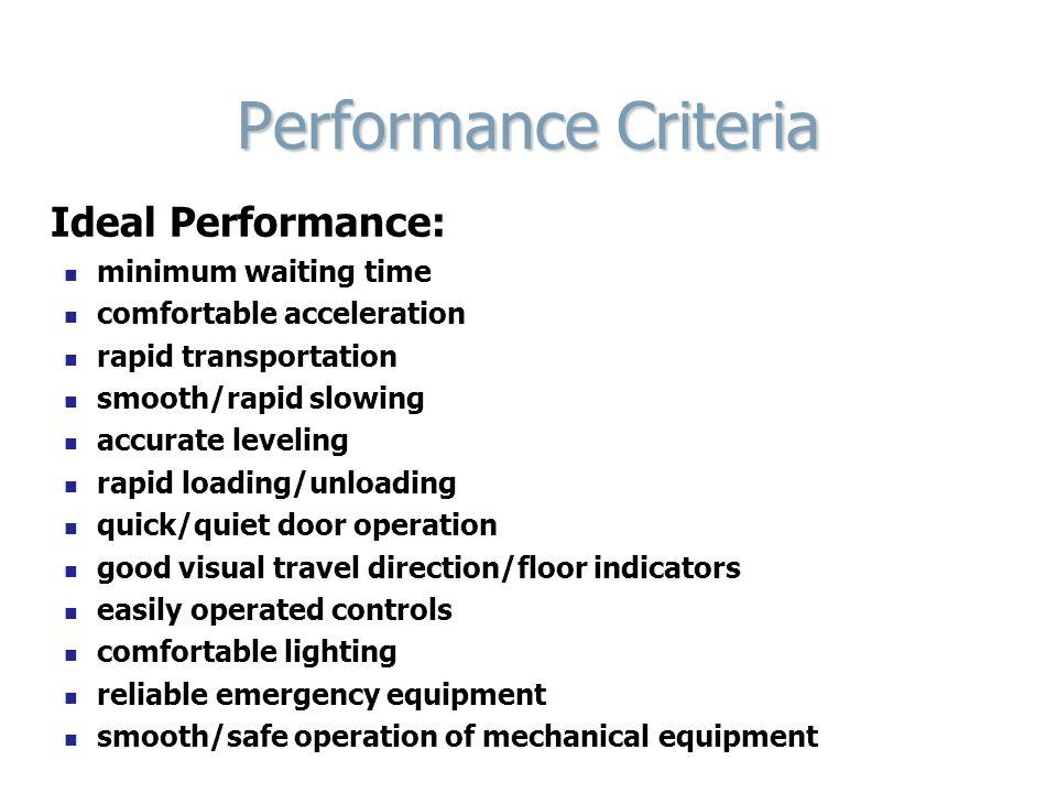 Performance Criteria Ideal Performance: minimum waiting time