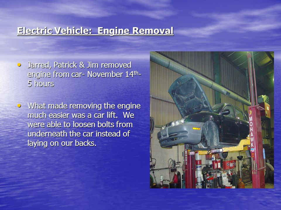 Electric Vehicle: Engine Removal