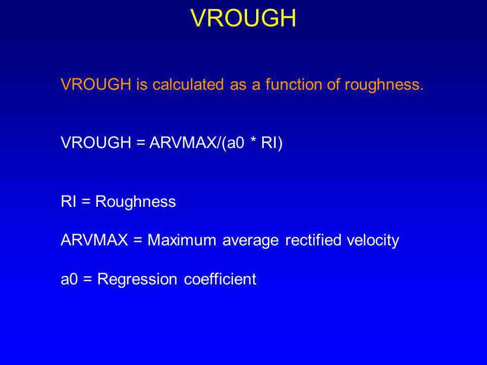 VROUGH VROUGH is calculated as a function of roughness.
