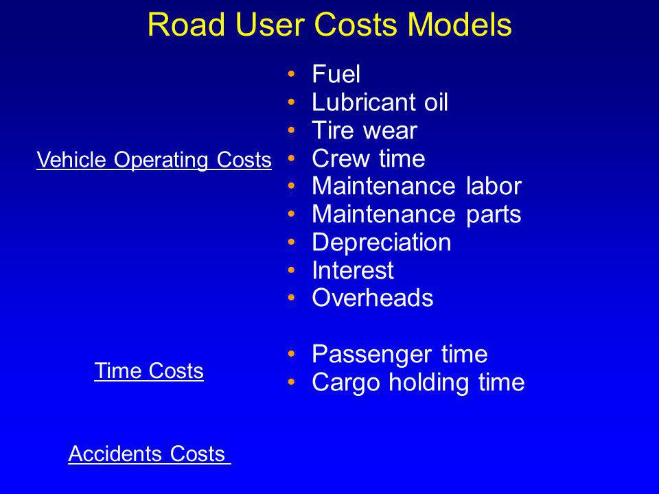 Road User Costs Models Fuel Lubricant oil Tire wear Crew time